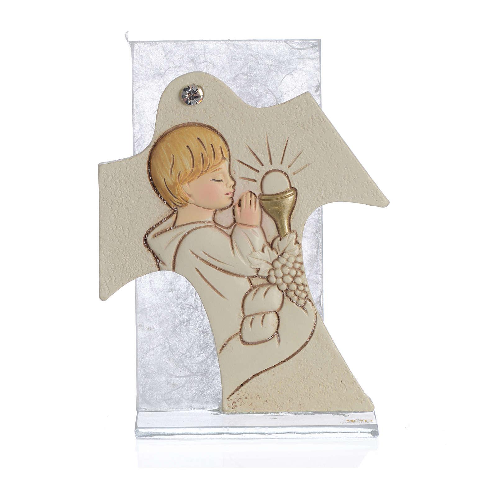 Obrazek krzyż  święta Rodzina bursztyn 11,5x8 cm 3