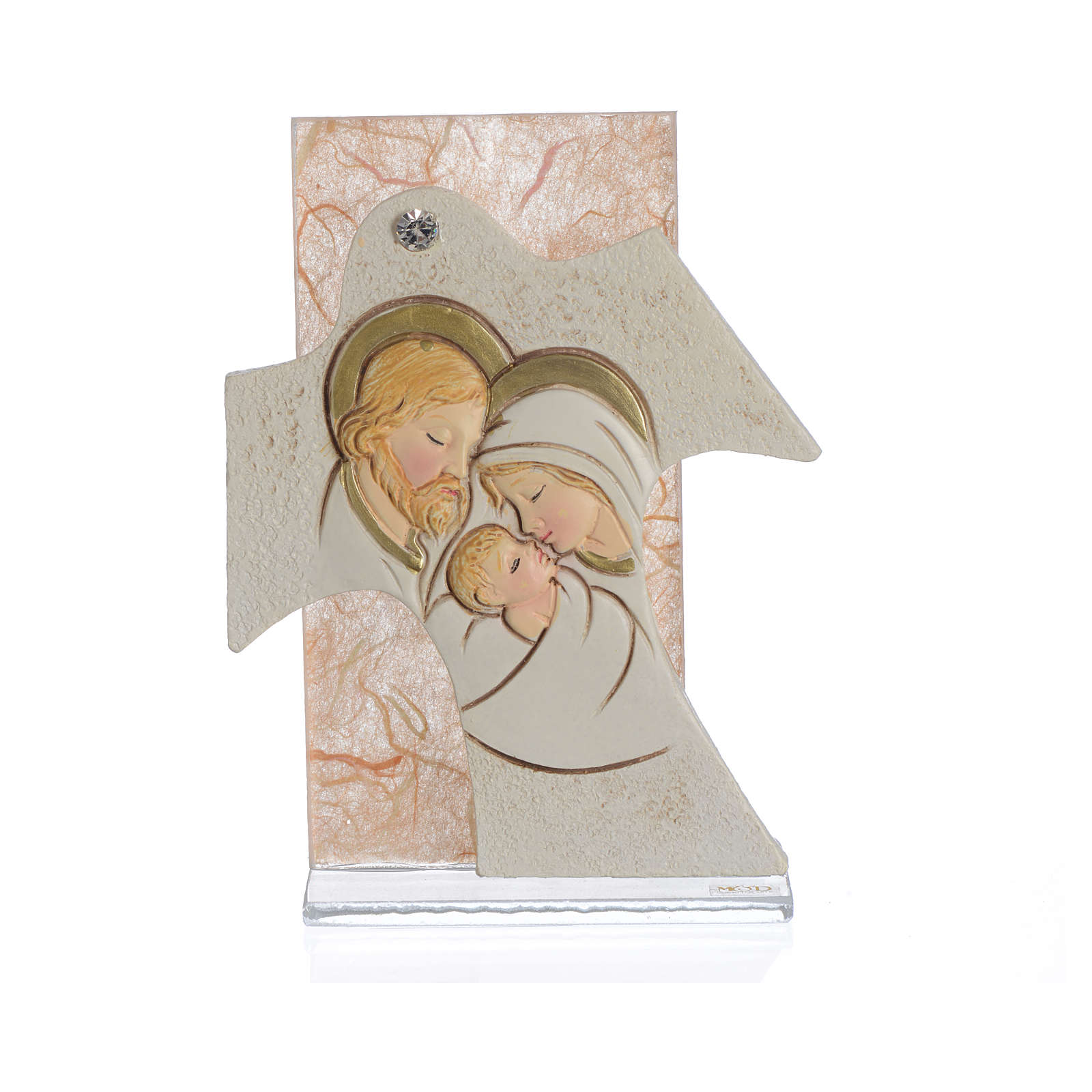 Painting Cross Holy Family amber 11,5x8cm 3