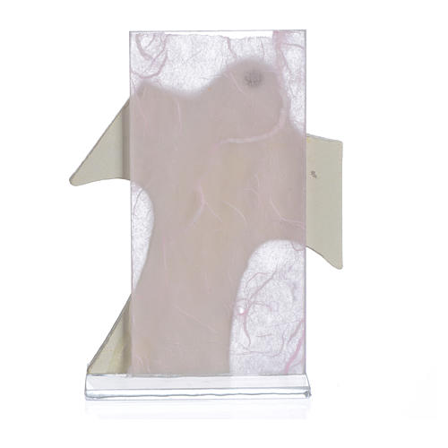 Ricordino Nascita Quadretto Croce Maternità rosa 11,5x8 cm 2