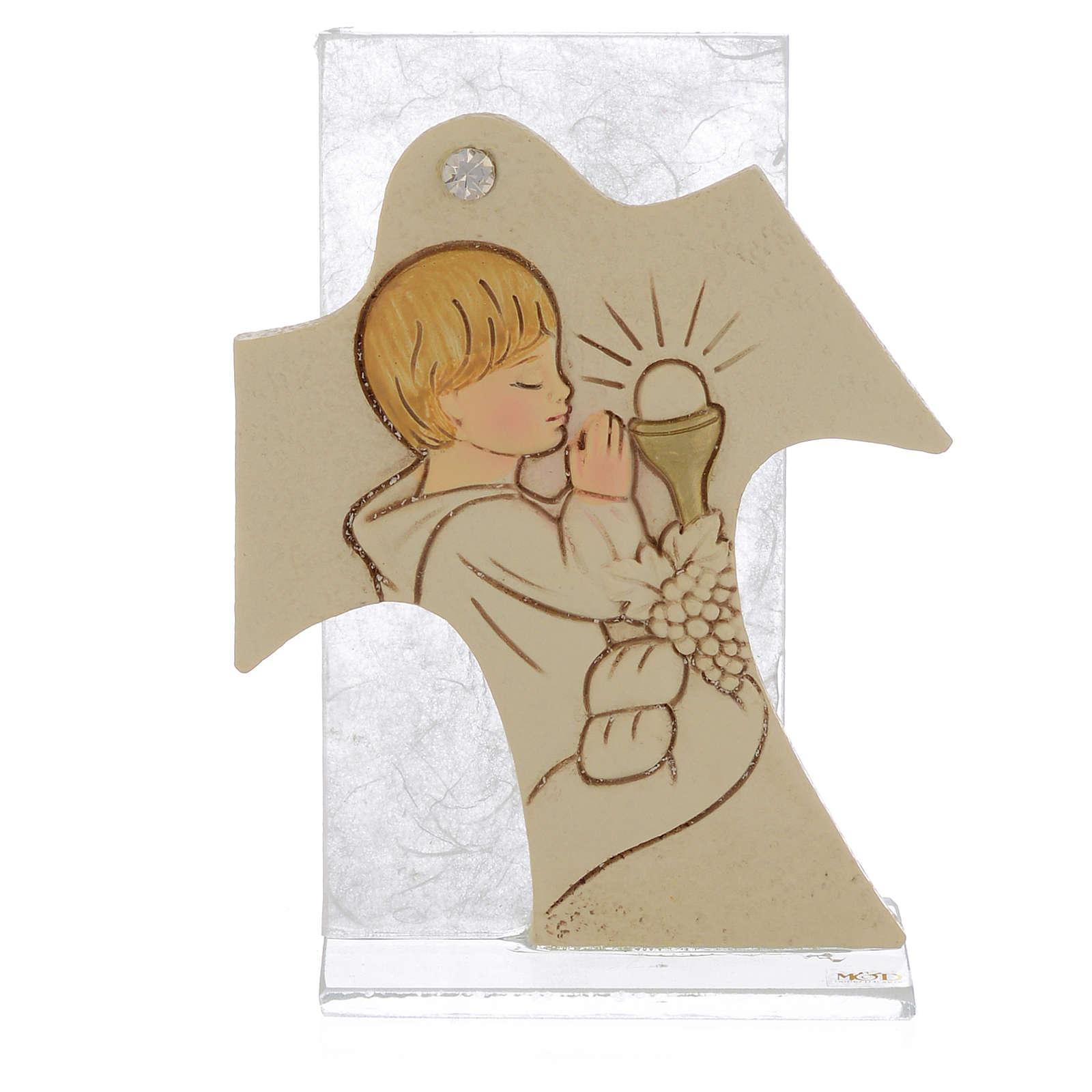 Bild mit Kreuz 11,5x8cm Erstkommunion Jung 3