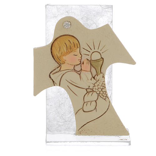 Bild mit Kreuz 11,5x8cm Erstkommunion Jung 1