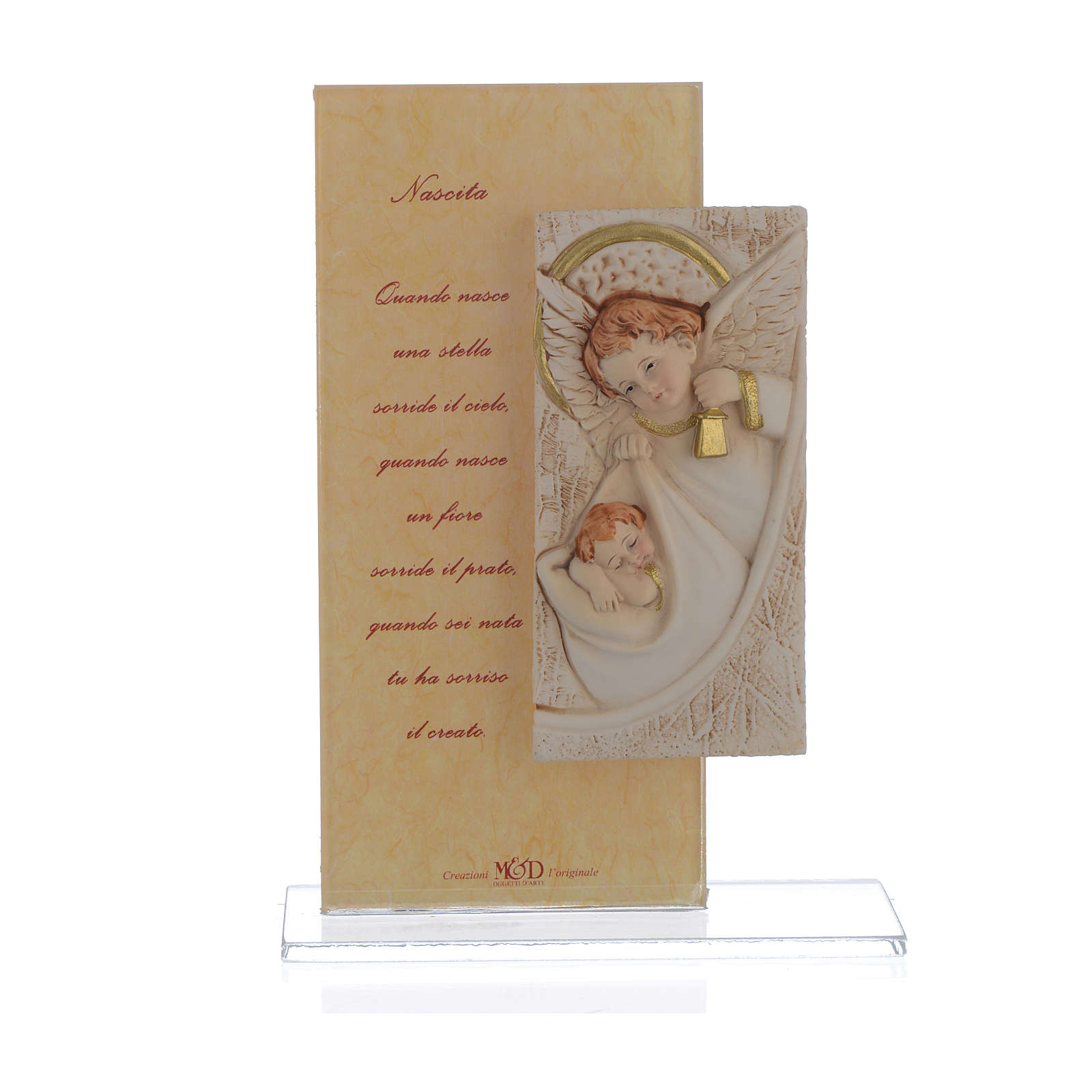 Quadretto Angelo con stampa h. 15,5 cm 3