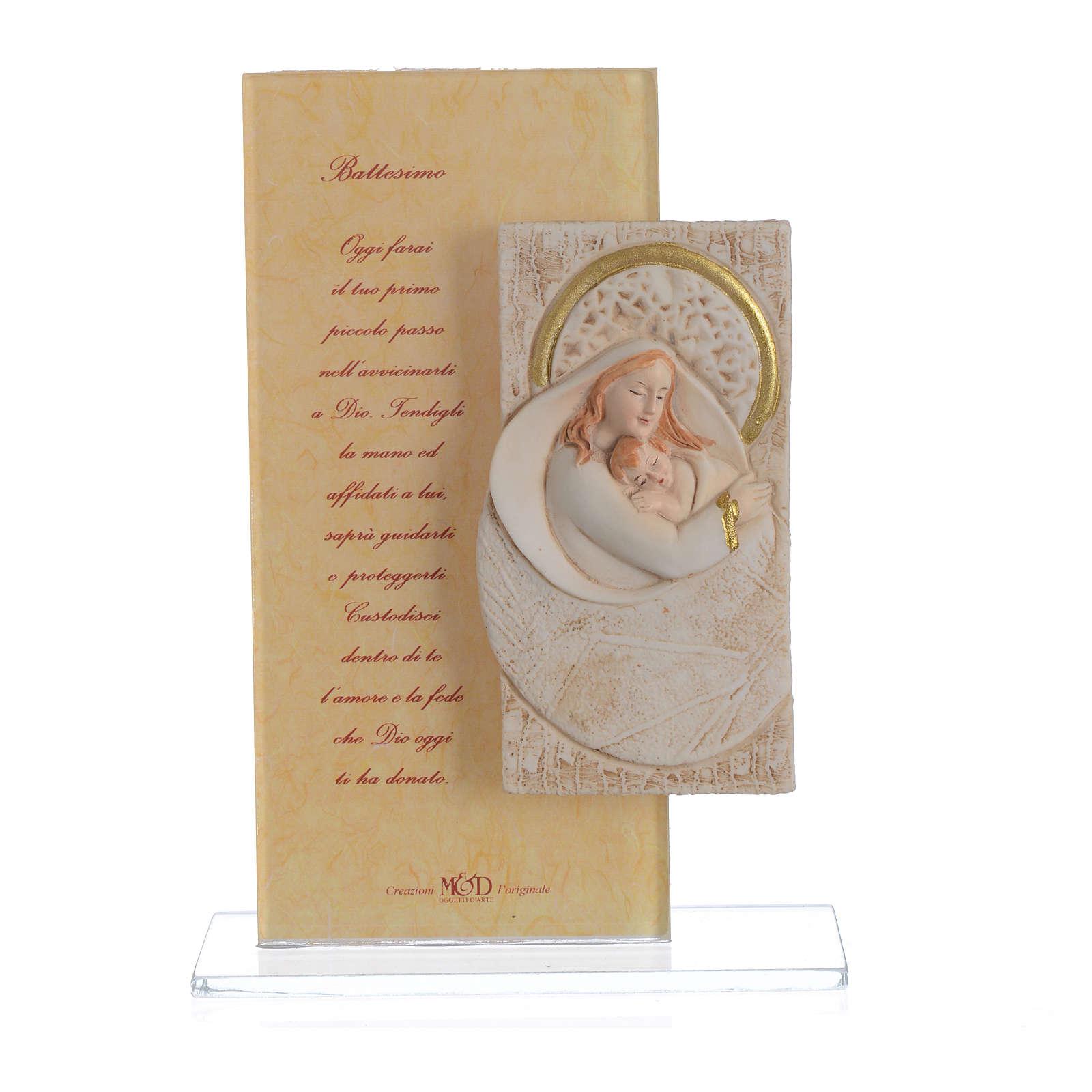 Recuerdo Nacimiento Cuadro con oración Bautismo h.15,5 cm 3