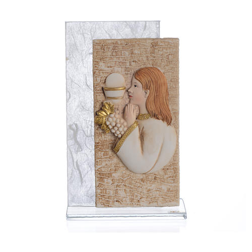 Holy Communion favour with girl image in silk paper, white 11.5cm 1