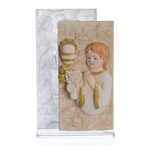 Holy Communion favour with child image in silk paper, white 11.5cm 1