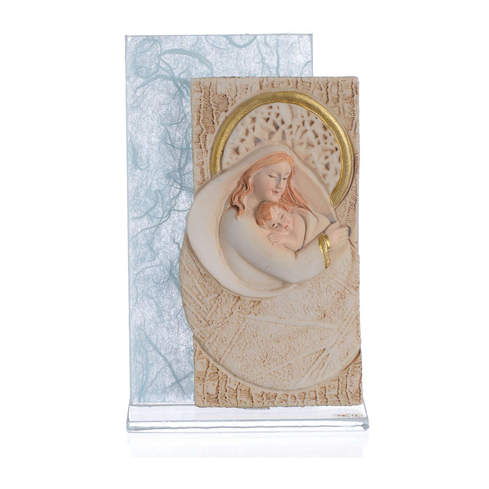 Ricordino Nascita Quadretto Maternità carta seta Celeste 11,5 cm 3