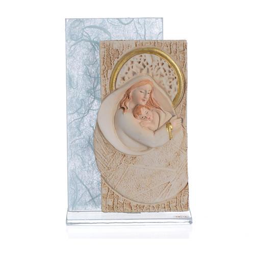 Ricordino Nascita Quadretto Maternità carta seta Celeste 11,5 cm 1