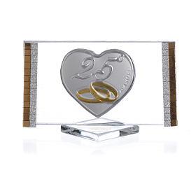 Bomboniera Anniversario 25 anni Quadro argento cm 4,5x7 s1