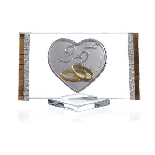 Bomboniera Anniversario 25 anni Quadro argento cm 4,5x7 1