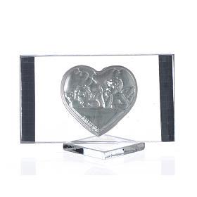 Quadretto argento con Cuore e Angeli cm 4,5x7 s2