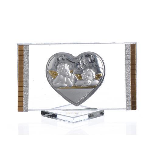 Quadretto argento con Cuore e Angeli cm 4,5x7 1