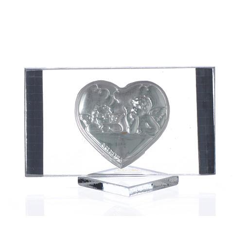 Quadretto argento con Cuore e Angeli cm 4,5x7 2