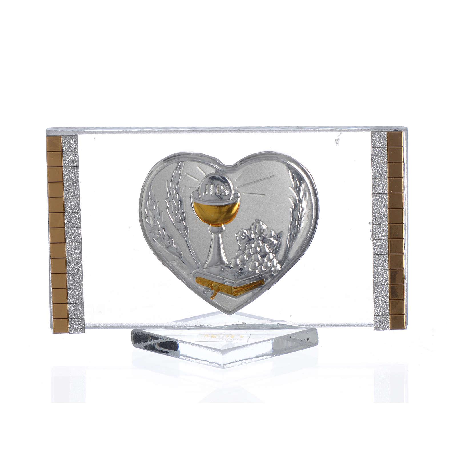 Recuerdo Comunión Rectangular Corazón 4,5x 7 cm 3