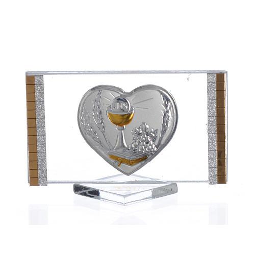 Recuerdo Comunión Rectangular Corazón 4,5x 7 cm 1