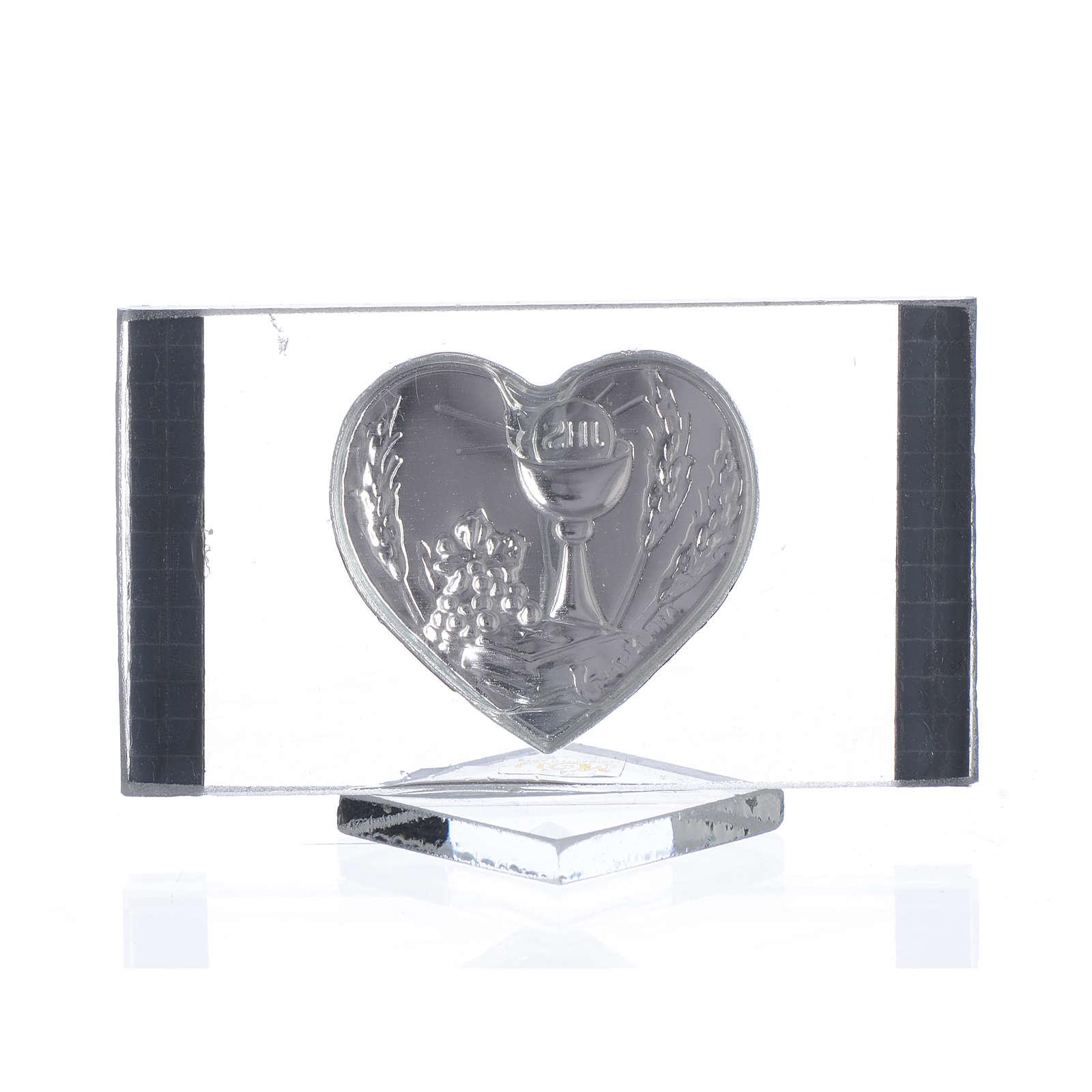 Cadre Rectangulaire avec Coeur Communion 4,5x7 cm 3