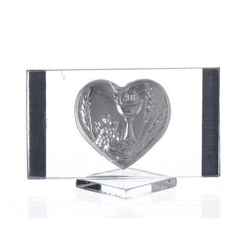 Cadre Rectangulaire avec Coeur Communion 4,5x7 cm 2
