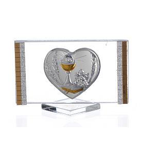Lembrancinha comunhão rectangular coração 4,5x7 cm s1