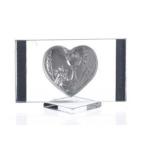 Lembrancinha comunhão rectangular coração 4,5x7 cm s2