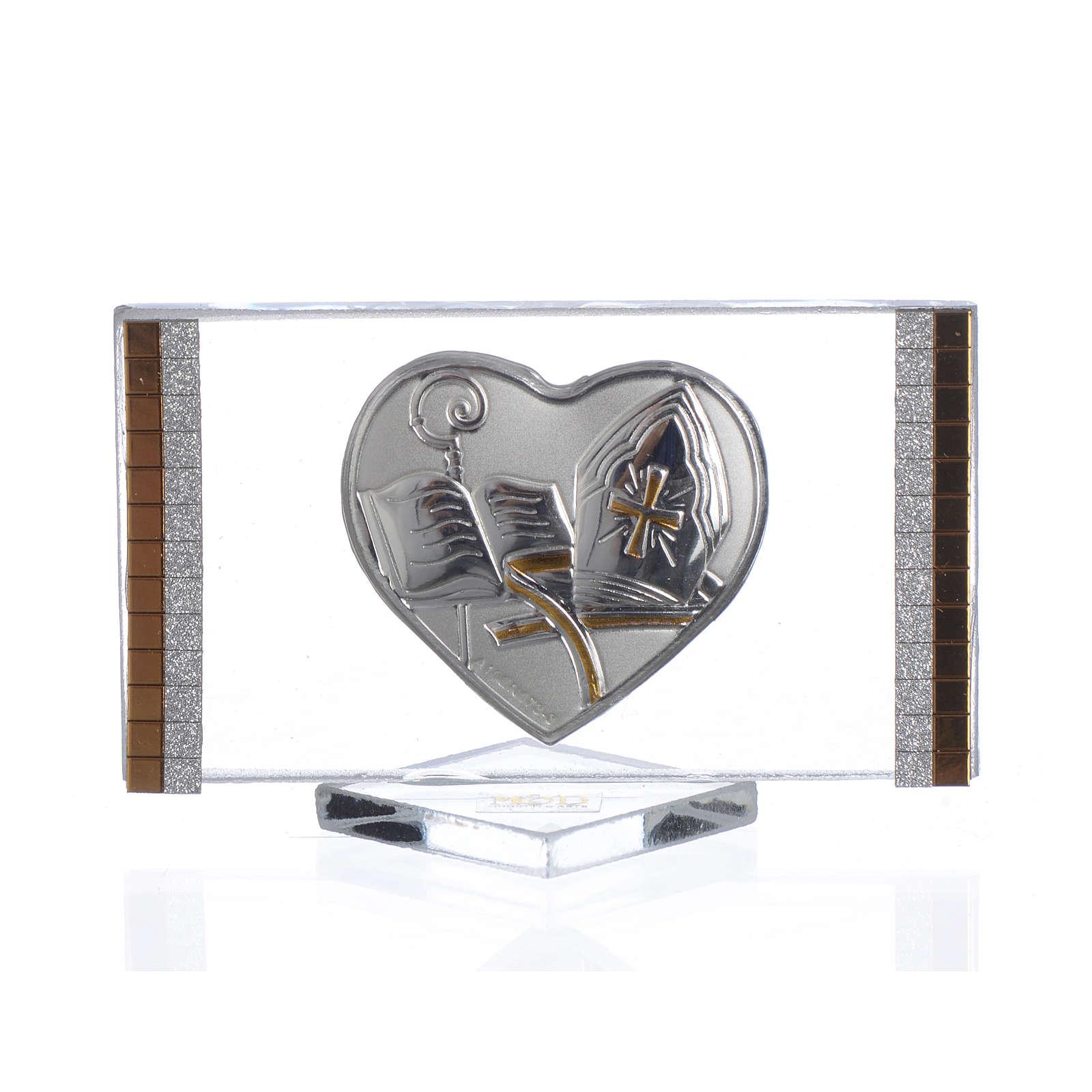 Cuadro en vidrio con corazón laminado en plata con detalles dorados en los bordes 3
