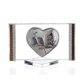 Cuadro en vidrio con corazón laminado en plata con detalles dorados en los bordes s1