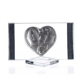 Cuadro en vidrio con corazón laminado en plata con detalles dorados en los bordes s2