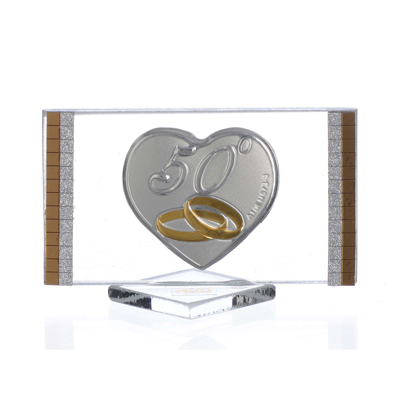 Recuerdo Aniversario de Bodas 50 Años Cuadro plata 4,5 x 7 cm 3