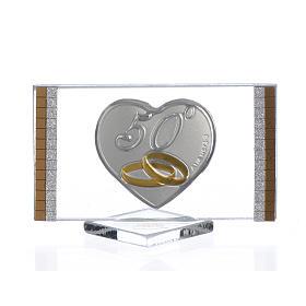 Recuerdo Aniversario de Bodas 50 Años Cuadro plata 4,5 x 7 cm s1