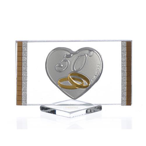 Recuerdo Aniversario de Bodas 50 Años Cuadro plata 4,5 x 7 cm 1