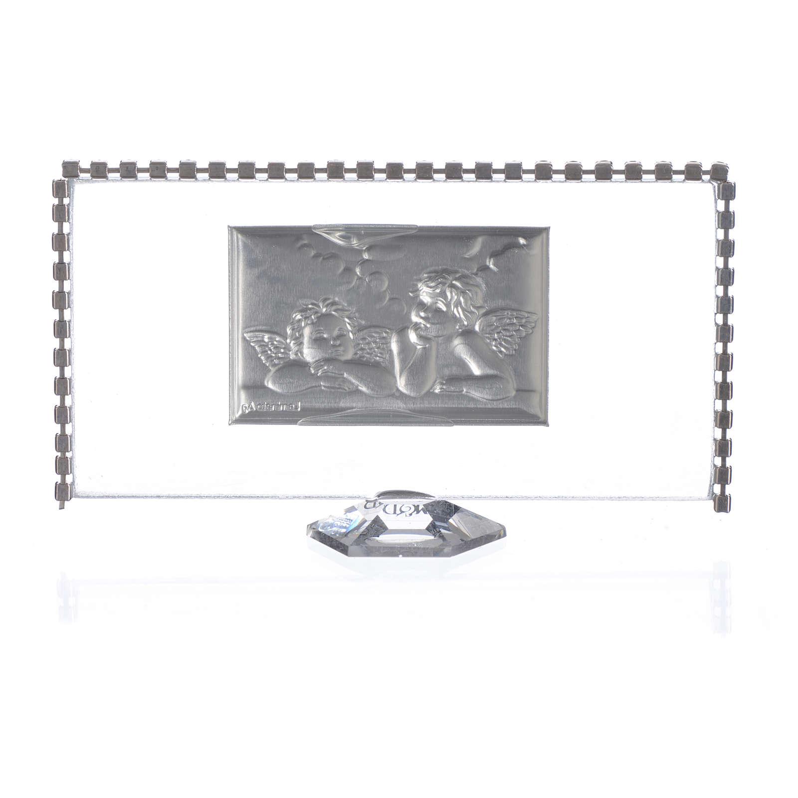 Quadro rectangular anjos e strass 12x6 cm 3