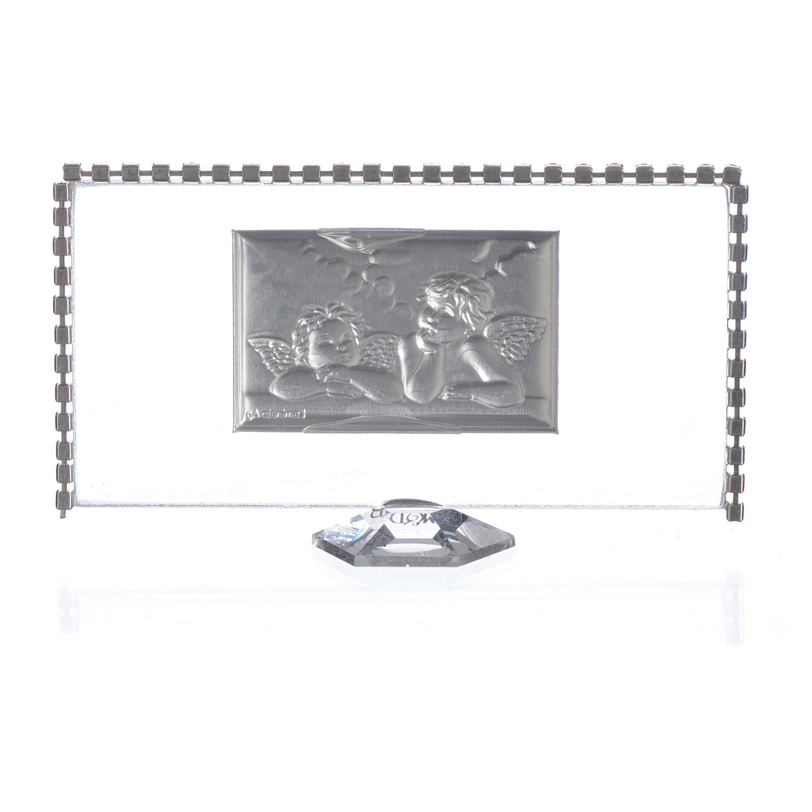 Rectangular picture with angels and rhinestones 12x6cm 3