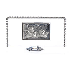 Rectangular picture with angels and rhinestones 12x6cm s1