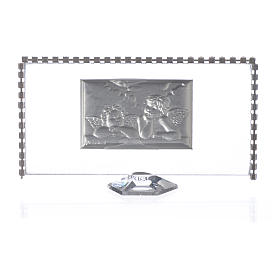 Rectangular picture with angels and rhinestones 12x6cm s2