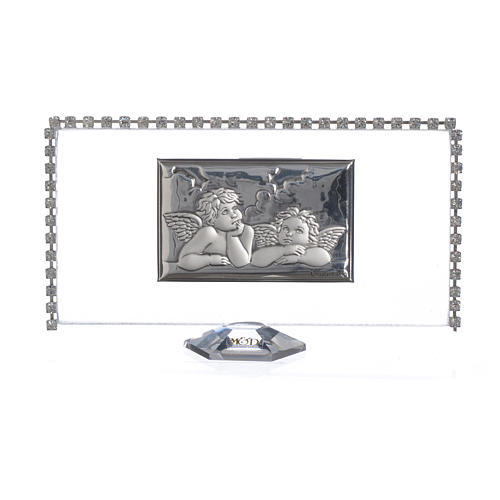 Rectangular picture with angels and rhinestones 12x6cm 1