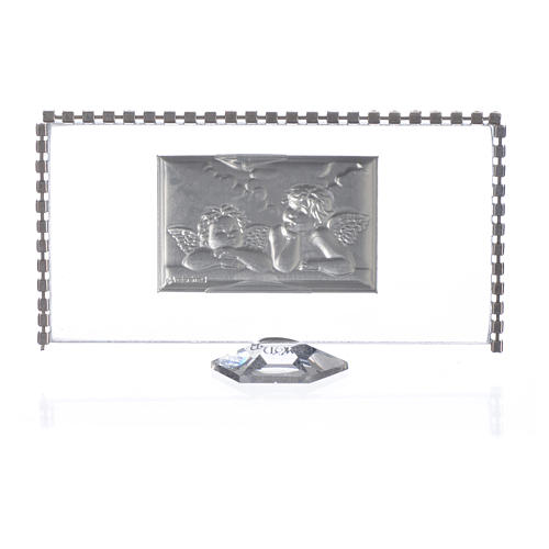 Rectangular picture with angels and rhinestones 12x6cm 2