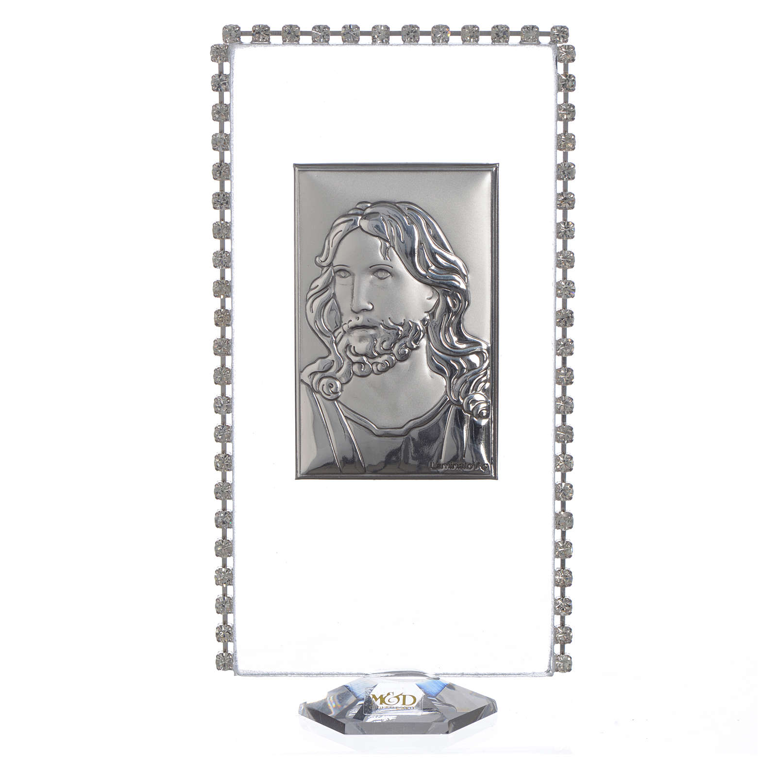 Quadretto rettangolare Cristo e strass 12x6cm 3