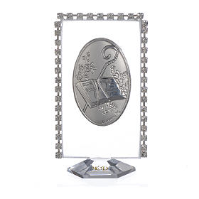 Cadre ovale Confirmation et strass 8x4,5 cm s1