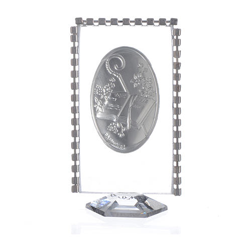 Cadre ovale Confirmation et strass 8x4,5 cm 2