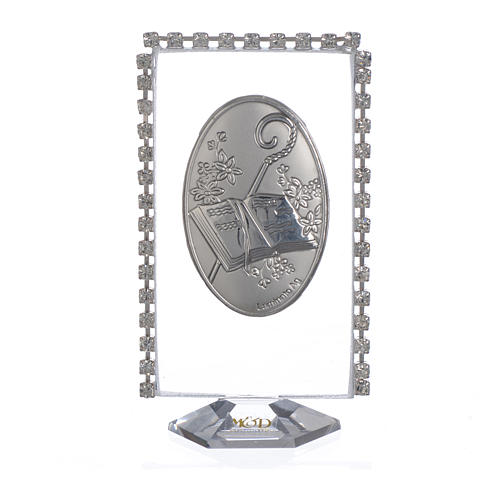 Confirmation favour, oval with rhinestones 8x4.5cm 1
