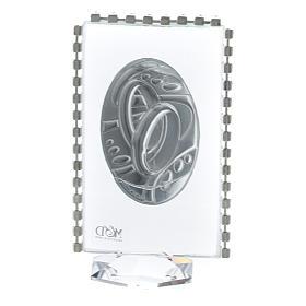 Quadretto con ovale Fedi e strass 8x4,5cm s3