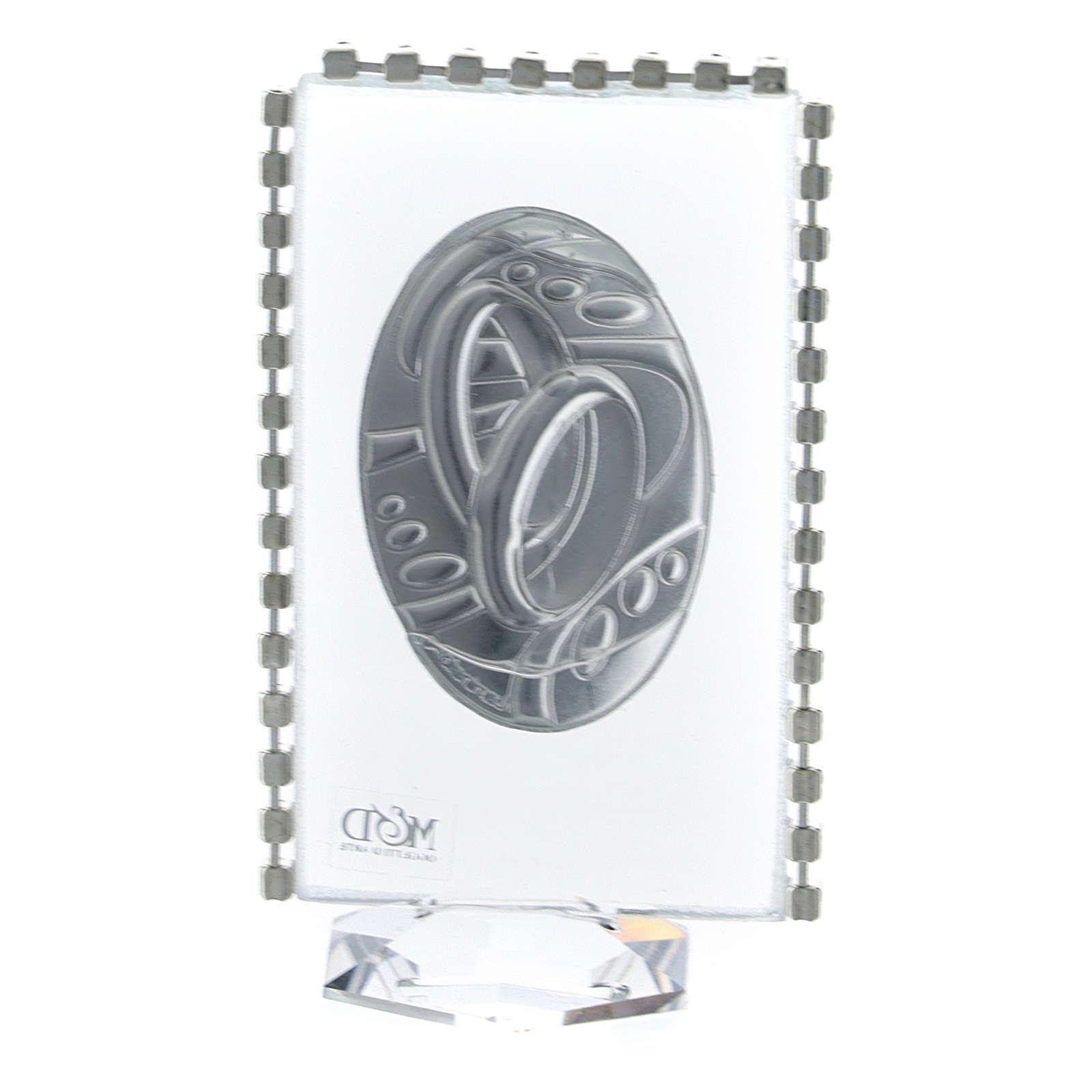 Pamiątka owalna Obrączki brokat  8x4,5cm 3