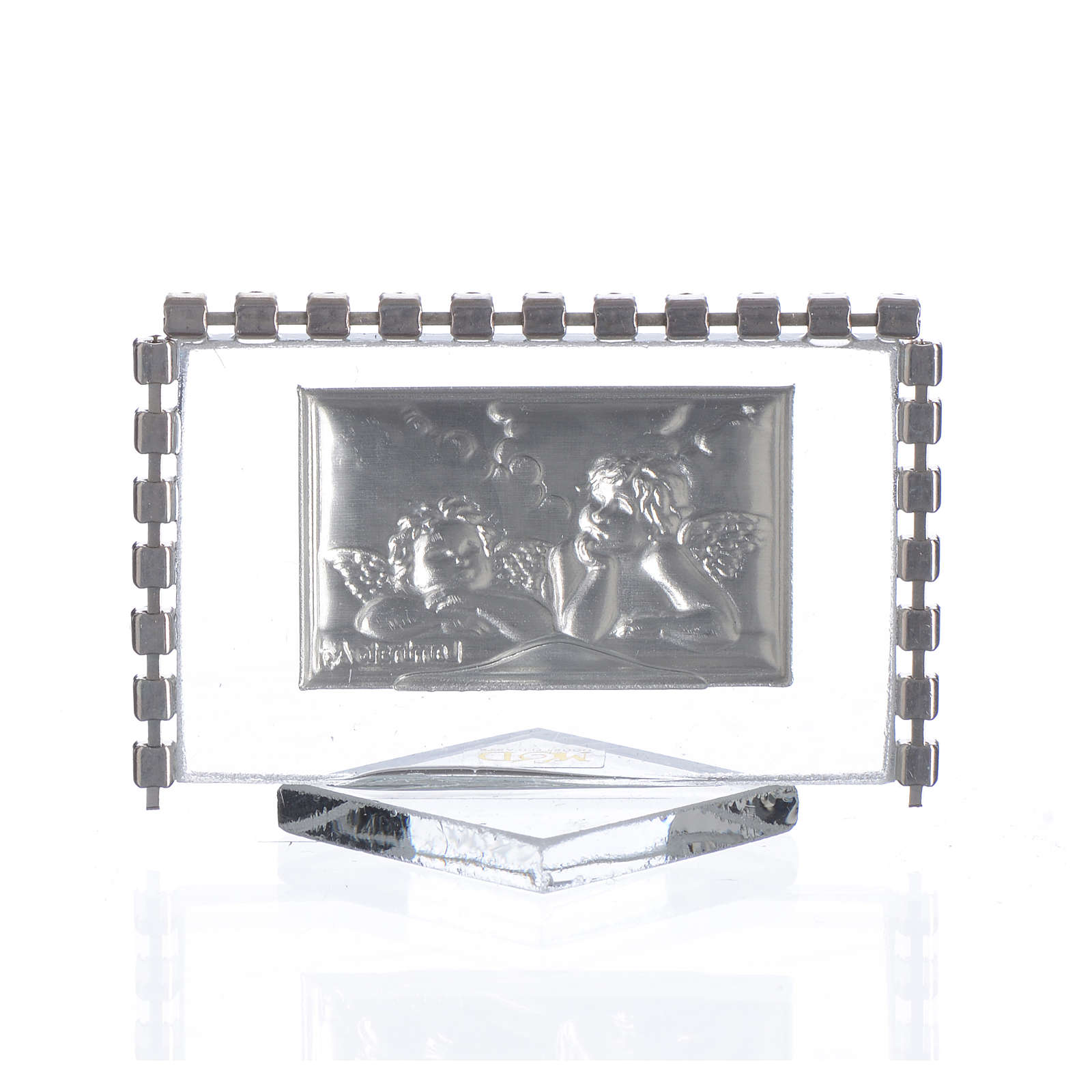 Rectangular picture with angels and rhinestones 5.5x3.5cm 3