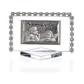 Rectangular picture with angels and rhinestones 5.5x3.5cm s1