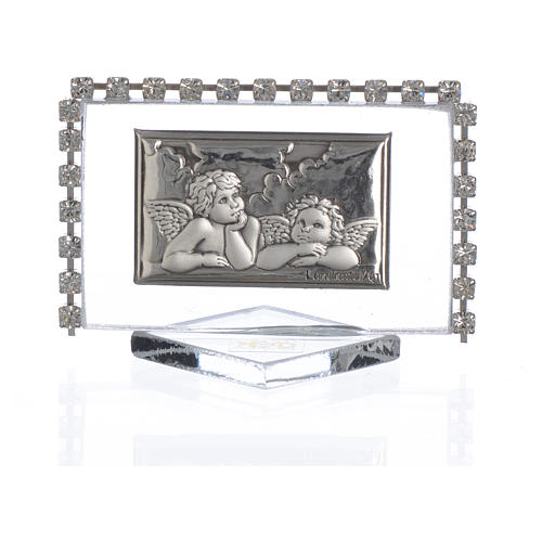 Rectangular picture with angels and rhinestones 5.5x3.5cm 1