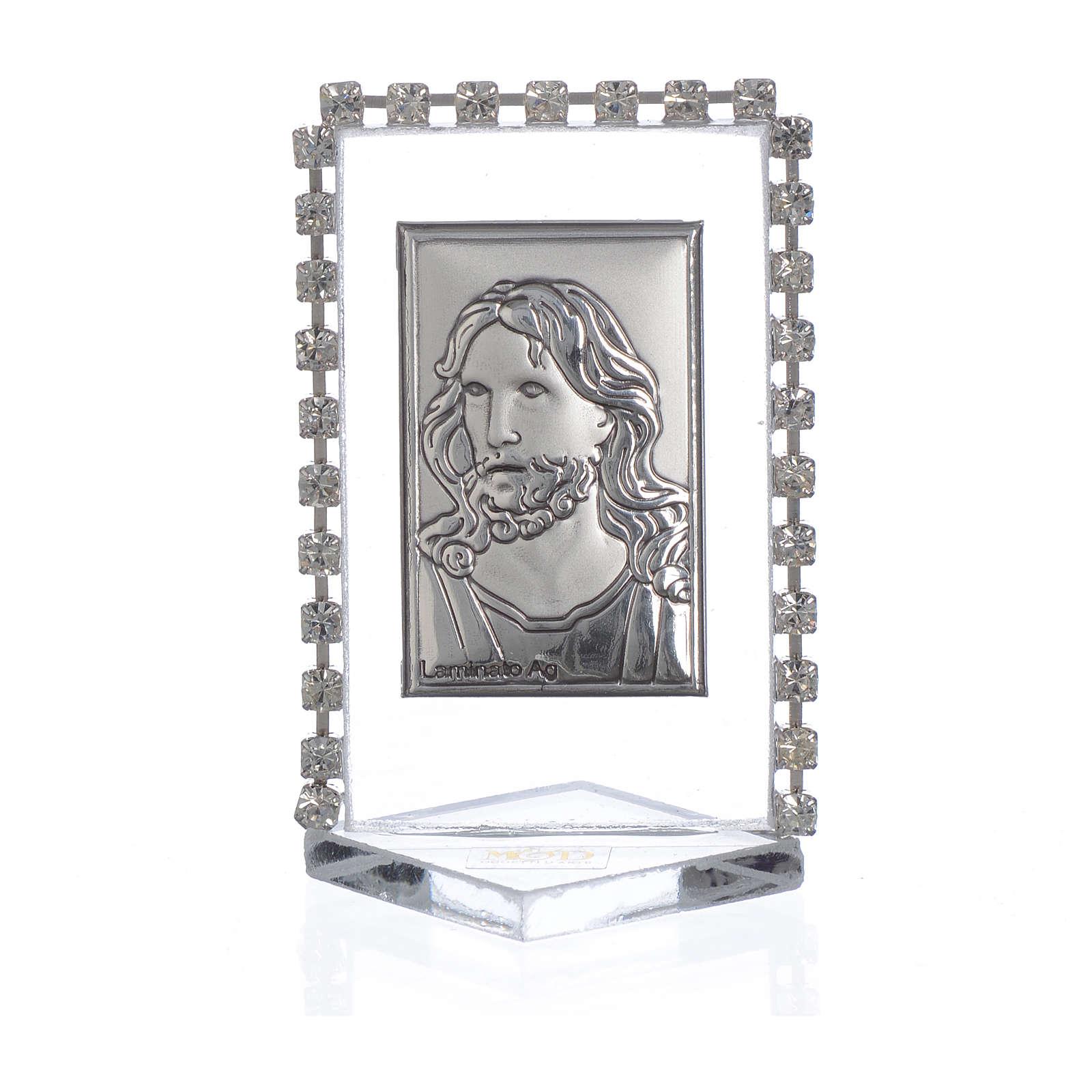 Quadretto Cristo con strass 5,5x3,5cm 3