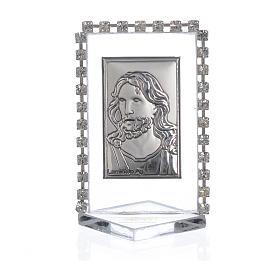 Quadretto Cristo con strass 5,5x3,5cm s1