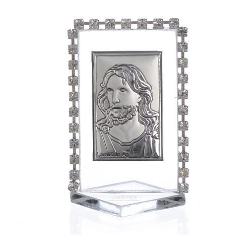 Quadretto Cristo con strass 5,5x3,5cm 1