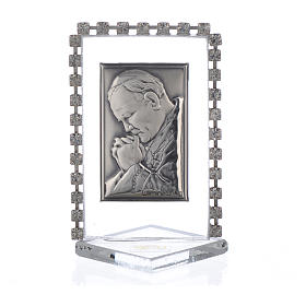 Cadre Pape Jean-Paul II strass 5,5x3,5 cm s1