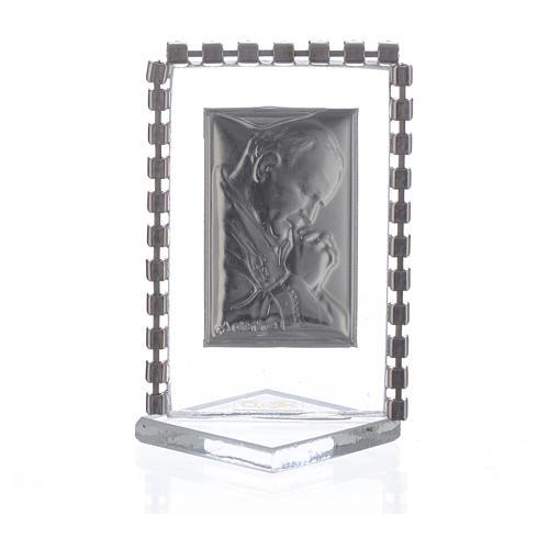Cadre Pape Jean-Paul II strass 5,5x3,5 cm 2