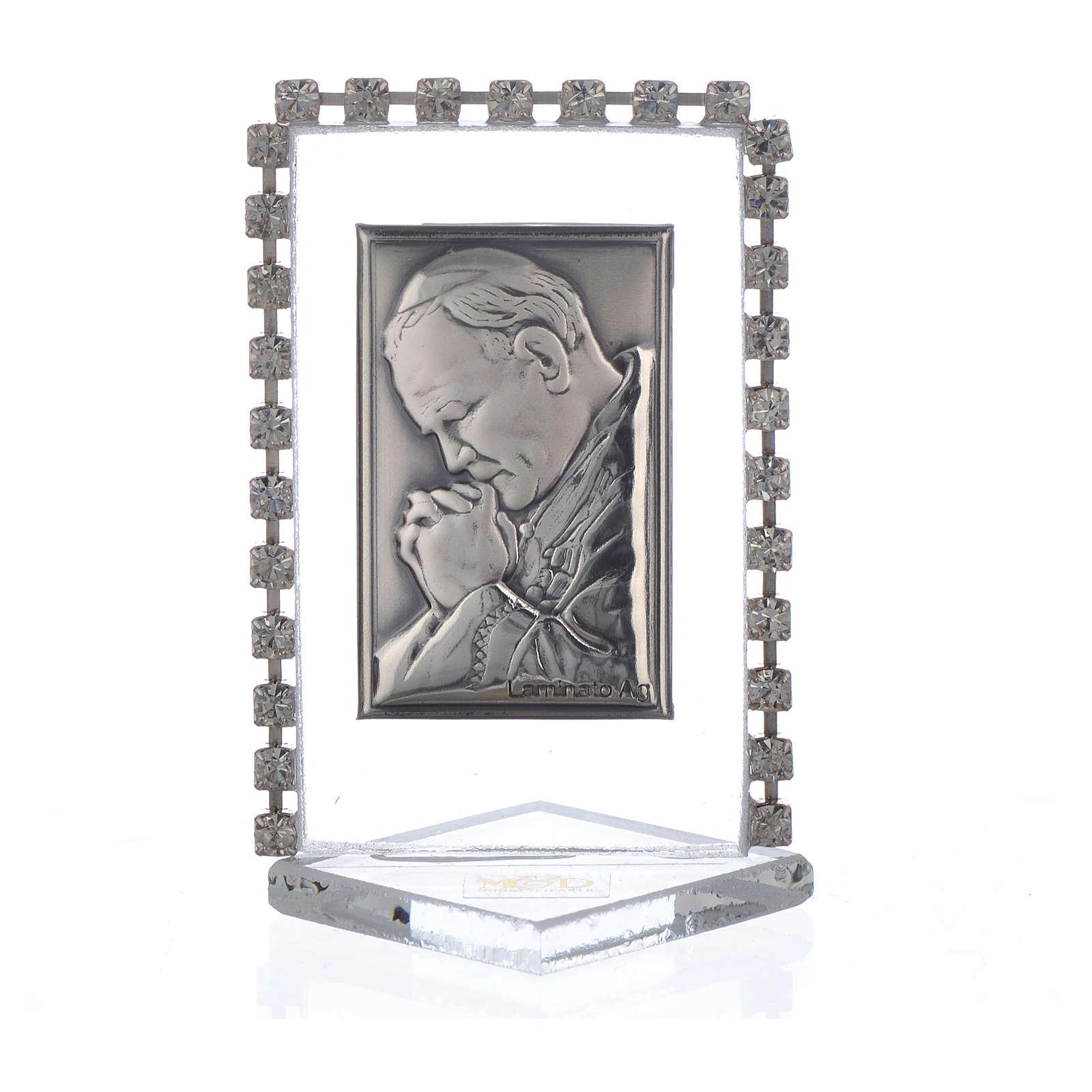 Picture with Pope John Paul II, rhinestones 5.5x3.5cm 3