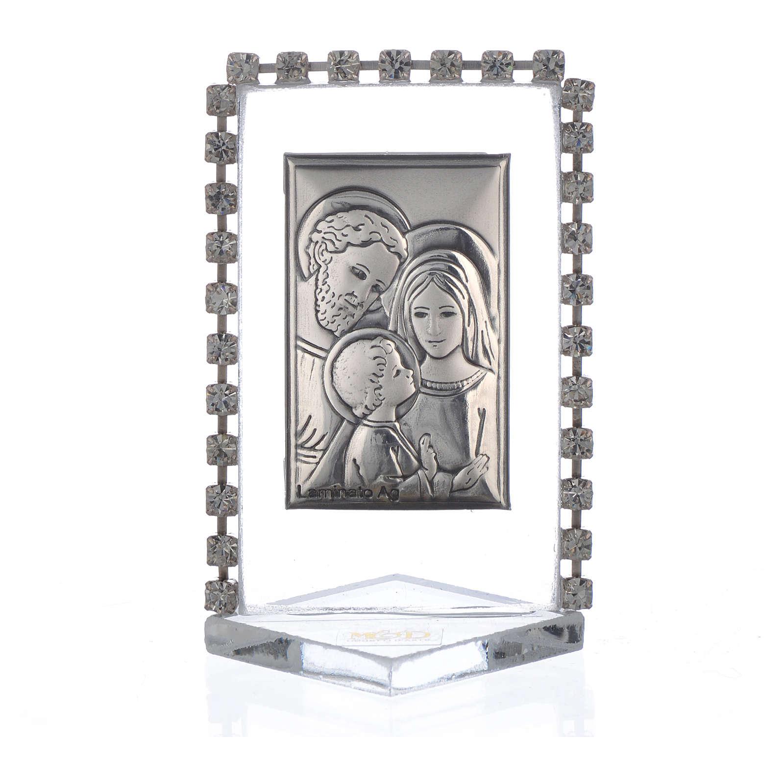 Bomboniera Matrimonio Quadretto Sacra Famiglia strass 5,5x 3,5 3
